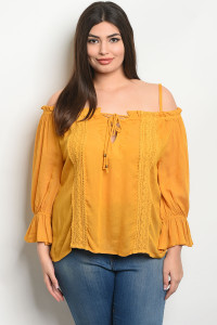 S11-13-3-T3972X MUSTARD PLUS SIZE TOP 2-2-2