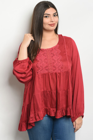 S11-13-3-T7060X BURGUNDY PLUS SIZE TOP 2-2-2