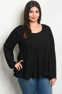 S22-3-4-T7060X BLACK PLUS SIZE TOP 2-2-2