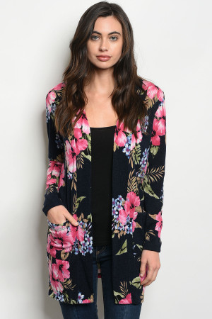C35-A-1-C7142 NAVY PINK FLORAL PRINT CARDIGAN 3-2-2