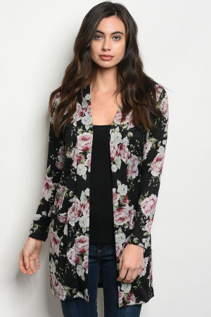 C42-A-2-C7142 BLACK WITH ROSES PRINT CARDIGAN 2-2-2
