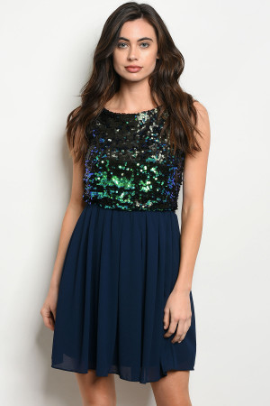 S6-1-2-D3096 NAVY WITH SEQUINS DRESS 3-2-1