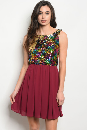 S6-1-3-D3096 BURGUNDY WITH SEQUINS DRESS 3-2-1