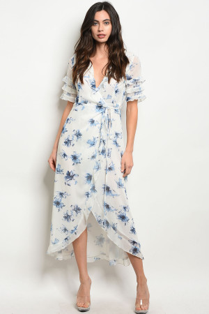 S12-6-1-D32185 WHITE BLUE FLORAL DRESS 3-2-1