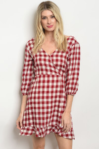 S22-8-5-D2005 BURGUNDY CHECKERED DRESS 3-2-2
