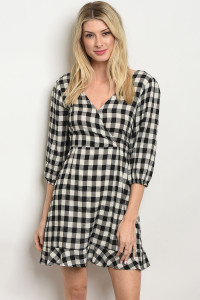 S12-5-3-D2005 BLACK CHECKERED DRESS 2-2-2