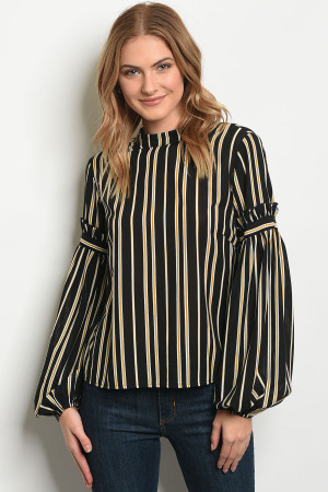 S22-8-5-T20011 BLACK MUSTARD STRIPES TOP 4-1-1