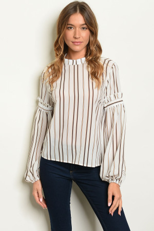 S22-8-5-T20011 IVORY BLACK STRIPES TOP / 3PCS