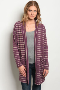 C87-A-1-C7850 BURGUNDY IVORY STRIPES CARDIGAN 1-2