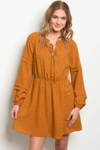 S22-12-4-D2095 CAMEL BLACK WITH DOTS DRESS 3-1