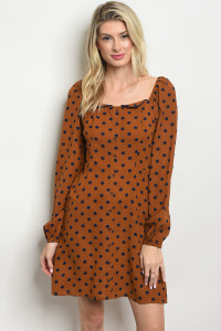 S17-2-1-D2020 BROWN NAVY WITH DOTS DRESS 1-1-1