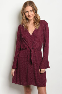 S22-6-5-D2038 BURGUNDY WITH DOTS DRESS 2-2-2