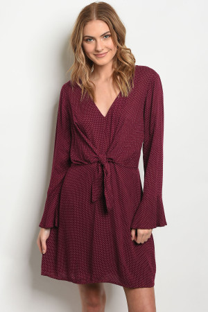 S22-12-4-D2038 BURGUNDY WITH DOTS DRESS 3-1-1