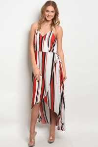 S22-4-5-D2555 RED WHITE STRIPES DRESS 2-2-2