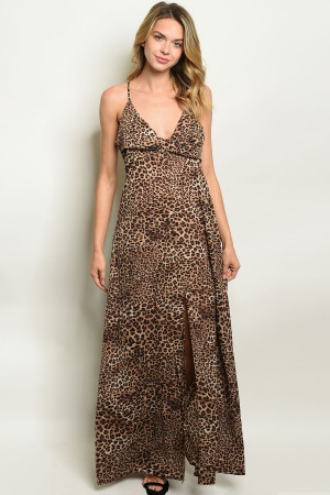 S16-1-1-D2542 BROWN ANIMAL PRINT DRESS 2-2-2