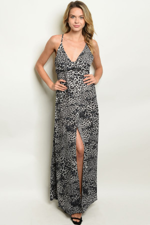 S15-2-1-D2542 GRAY ANIMAL PRINT DRESS 2-2-2