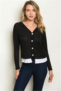 C36-B-1-T3843 BLACK WHITE TOP 2-2-1