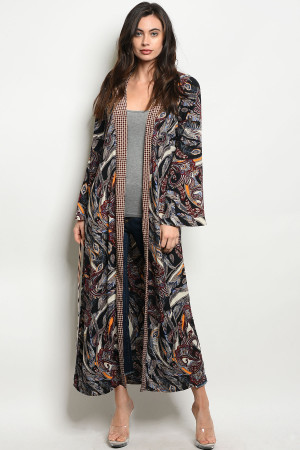 C75-A-1-D12801 BLACK WINE WITH FEATHER PRINT KIMONO 1-3-3
