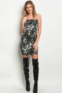 C28-A-4-D0229 OLIVE BLACK CHEETAH LEOPARD DRESS 2-2-2