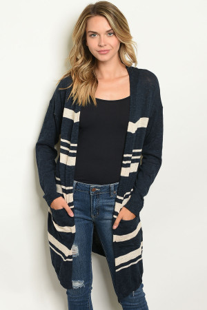 S21-8-5-C21801 NAVY CREAM STRIPES CARDIGAN 3-2-2