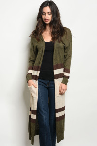 S23-4-5-C21802 OLIVE CREAM STRIPES CARDIGAN 2-2-2