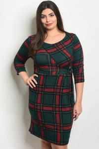 C41-A-2-D8127X GREEN RED PLUS SIZE DRESS 2-2-2