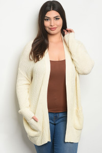 S22-12-4-C9605X CREAM PLUS SIZE CARDIGAN 1-2-3