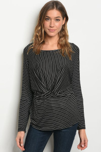 C77-B-2-T2137 BLACK STRIPES TOP 2-2-2