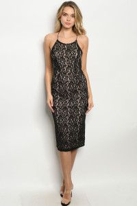 C43-A-2-D20748 BLACK NUDE LACE DRESS 2-2-2