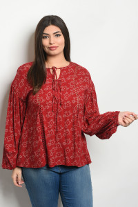 S21-9-4-T81075X BURGUNDY TAN PLUS SIZE TOP 3-2-2