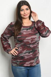 S21-9-4-T10160X BURGUNDY CAMOUFLAGE PLUS SIZE TOP 3-3-2