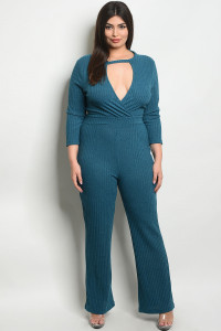 S21-9-4-J38677X TEAL PLUS SIZE JUMPSUIT / 2PCS