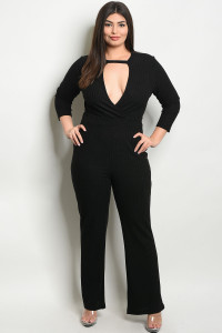 S8-5-2-J38677X BLACK PLUS SIZE JUMPSUIT 2-2-2