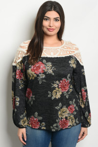S21-9-4-T32382X CHARCOAL FLORAL PLUS SIZE TOP 3-2-2