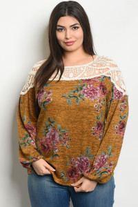 S21-9-4-T32382X MUSTARD FLORAL PLUS SIZE TOP 2-2