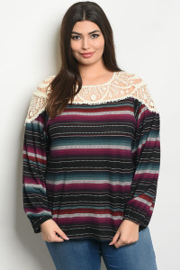 S22-12-6-T51586X BLACK PURPLE STRIPES PLUS SIZE TOP 2-2-2