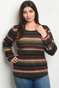 S13-5-1-T51584X BLACK BURGUNDY STRIPES PLUS SIZE TOP 2-2-2
