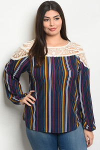 S13-6-3-T66062X IVORY NAVY STRIPES PLUS SIZE TOP 2-2-2