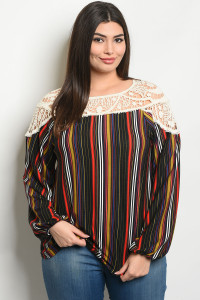 S22-10-6-T66062X IVORY BLACK STRIPES PLUS SIZE TOP 2-2-2