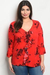 S13-9-4-T25594X RED BLACK PLUS SIZE TOP 2-2-2