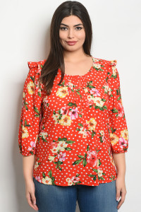 S13-9-4-T66044X RED FLORAL PLUS SIZE TOP 2-2-2