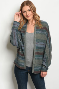 C72-A-5-C9804 GREEN MULTY CARDIGAN 2-2-2