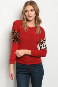 C42-B-1-T10353 RED LEOPARD PRINT TOP 2-2-2