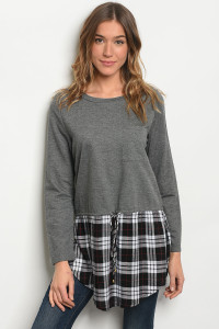 S21-12-5-T2520 CHARCOAL WHITE CHECKERS TOP 2-1-1