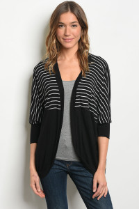 S12-8-4-C1457 BLACK WHITE CARDIGAN 2-2-2