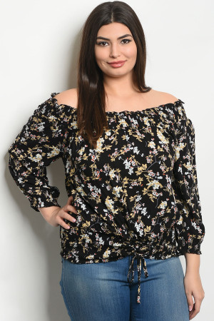 S22-13-5-T9247X BLACK FLORAL PLUS SIZE TOP 2-2-2