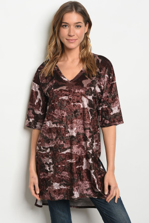 C56-A-3 T3709 BURGANDY CAMOUFLAGE TOP 2-2-2
