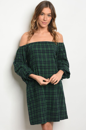 S23-1-4 D1751 GREEN NAVY CHECKERS DRESS 2-2-2