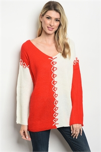 S23-1-4 S8966 RED IVORY SWEATER 3-3