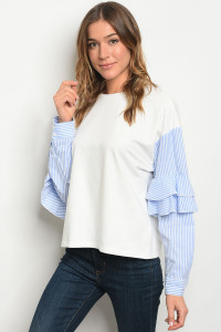 S25-7-1-T5945 IVORY BLUE TOP 2-2-2